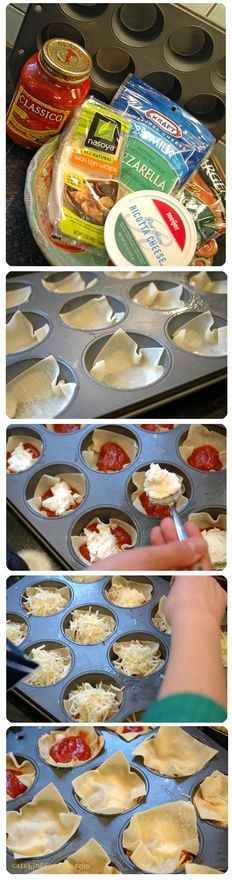 mini lasagnas. this would be great to bring to a party. ..Add a cupcake holder for mess-less :)