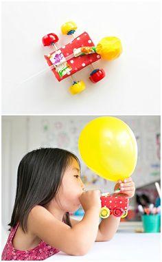 Make a fun balloon powered juice box car for kids!