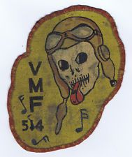 RARE USMC WWII VMF-514 WHISTLING DEATH SQUADRON PATCH