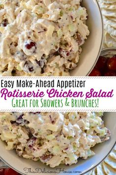The perfect use for rotisserie chicken! This chicken salad is sweet and crunchy and would make the perfect appetizer for a baby shower or bridal shower, or just served on wheat bread or croissant for a delicious sandwich. Easy Make Ahead Appetizers, Chicken Salad With Grapes, Rotisserie Chicken Salad, Sandwich Spread, Brunch Recipes, Brunch Food, Brunch Menu, Brunch Salad, Snacks