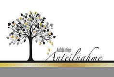#Trauerkarte Aufrichtige Anteilnahme, strukturierter Karton mit Goldfolienprägung