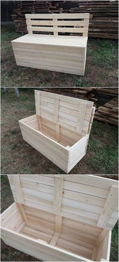This wood pallet project has been crafted with the form work of the bench design where the placement function of the storage box is also the part of it. This whole project has been designed in much simple and plain form of cut piece that look quite stylish.