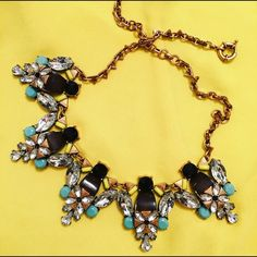 Multi colored statement necklace Great quality, antique gold with turquoise,black ,and chartruese and clear synthetic stones.   Not zara. Zara Jewelry Necklaces