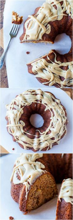 Spiced Apple and Banana Bundt Cake with Vanilla Caramel Glaze - Apple cake meets banana bread with a to-die-for glaze! Best.ever.