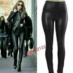 """Black faux leather leggings high waisted New Sexy 》PLEASE DON'T BUY THIS LISTING, COMMENT ON SIZE NEEDED FOR SEPARATE LISTING.   NWT, Black Sexy Faux leather leggings. Perfect fit  High waist Medium weight Lightly soft Fleece-lined These are Very Stretchy Fabric Content : 65% Polyester + 35% Cotton Measurements laying flat Unstretched to stretched (Inseam = 27-28"""") (Total Length= 38-39"""") (Front Rise = 12"""") (Back Rise =14"""")  (Small Waist =11-13"""") (Medium Waist =12-14"""") (LargeWaist =13-15"""")…"""