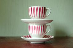 """Swedish Ceramic Striped Cups and Saucers - Hand Painted Upsala Ekeby """"Rod Aster"""" Cups. Stig Lindberg, Swedish Fashion, Absolutely Stunning, Cup And Saucer, White Ceramics, Scandinavian, Red And White, Tea Cups, Mid Century"""