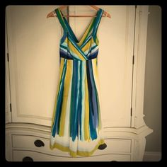 Calvin Klein Dress Super fun, cute Calvin Klein dress. I don't think I've worn this, but at the very least in like new condition. Blue, green, and yellow watercolor like print. Crosses in the back. Calvin Klein Dresses Midi