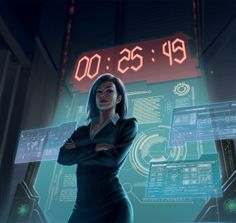 Netrunner : The Hours Tick By by macarious Unreleased Netrunner Art; Possible Elizabeth Mills