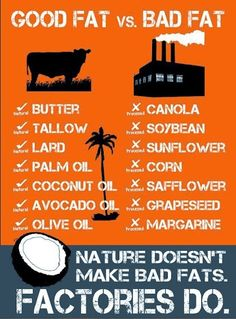 Good fat = butter tallow lard palm oil coconut oil avocado oil and olive oil. Bad fat = Canola soybean sunflower corn safflower grapeseed and margarine. Nature doesn't make bad fats. Healthy Fats, Get Healthy, Healthy Choices, Healthy Eating, Clean Eating, Healthy Weight, Healthy Habbits, Clean Meals, Natural Coconut Oil