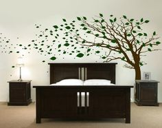 Tall Tree With Leaves Blowing In The Wind #wall stickers