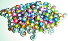 100pcs 4mm Two Tone Mulitcolored Drizzled Beads