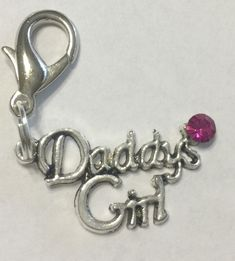 This is a cute little ~Daddy's Girl~ rhinestone dog or cat collar charm on sale now at a great discount!  The charm is 1-1/2″ wide. **You have a choice of the accent crystal.  This is a sweet little charm for your spoiled baby! #dogs #collarcharm