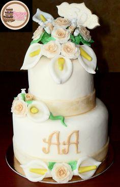 Wedding Anniversary Cake. Calla lily and rose cake.