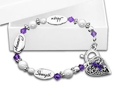 Testicular Cancer Purple Ribbon Charm Bracelet Hope Strength Courage Retail >>> Be sure to check out this awesome product.