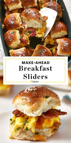 Easy Homemade Breakfast Sliders Recipe Need recipes and ideas for make ahead breakfasts Baked in a casserole these sliders are made with hawaiian rolls scrambled eggs bac. Breakfast Slider, Breakfast Bake, Breakfast Dishes, Breakfast Sandwich Recipes, Breakfast Tailgate Food, Mini Breakfast Food, Breakfast Finger Foods, Hawaiian Breakfast, English Muffin Breakfast