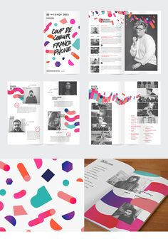 Editorial design for a printed program and/or brochure design for COUP DE COEUR FRANCOPHONE 2015 by multiple owners, via Behance. -- Brochure Examples From Venngage Brochure Indesign, Template Brochure, Brochure Layout, Brochure Examples, Adobe Indesign, Corporate Brochure, Corporate Design, Leaflet Design, Booklet Design