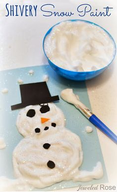 SHIVERY snow paint is easy to make and SO FUN!  Kids can create snowmen and other works of art that dry puffy and are COLD to the touch.