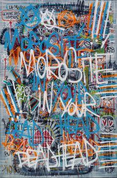 Morosité (Peinture),  145x100 cm par Olivier PIOCH Acrylique sur toile tendu, spray et pastel a l'huile. Vernis