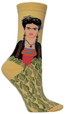 Why wear plain ol socks when you can rock Frida socks, unibrow and all.