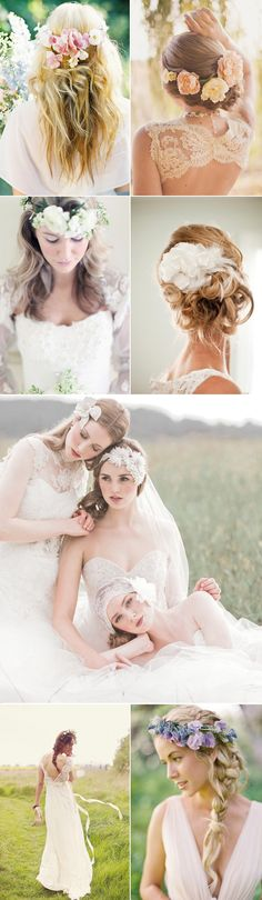 16 Natural and Elegant Bridal Hairstyles - Floral