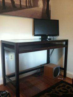 Upton Glass-Top Desk $70 - Alexandria http://furnishly.com/catalog/product/view/id/533/s/upton-glass-top-desk/