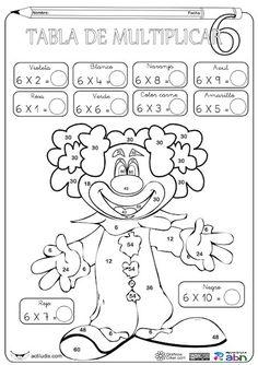 Aula de Elena: Tablas de multiplicar: fichas para colorear y jugar Multiplication Facts Practice, Math Facts, Math Worksheets, Math Activities, Teaching Math, Teaching Resources, Math School, Math Numbers, Math For Kids
