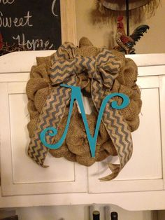 Personalized burlap wreath