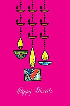 Swinging-Diyas, Diwali Cards, Festival Cards