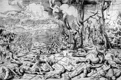 The Battle of Marignano, 1521. The brutality of war is shown to full effect in this image. Graf would have seen this first hand in his time as a mercenary and does not spare the detail of battle.