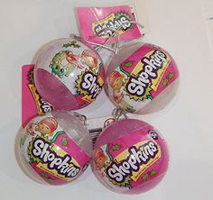 This set includes 4 mystery ornaments for 8 shopkins total. These shopkins are a 2016 holiday exclusive limited edition. Includes 2 pink and 2 clear ornaments....