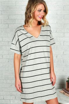 Keep It Smooth T-Shirt Dress in Grey
