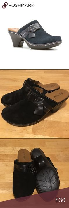 """🆕 EuroSoft Black Suede Clogs w/Decorative Knot EuroSoft """"Daja"""" Black Suede Clogs with Decorative Knot Detail. MSRP $50.                           🔹Latex & Memory Foam Dual Comfort Footbed   🔹Suede with Napa Leather Detail                           🔹Heel Height: 2.75""""                                                      🔹Contrast Stitching*                                                    *Minor flaws in contrast stitching, however still in Excellent Used Condition (see last photo)…"""
