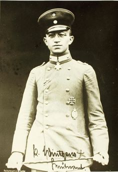 Leutnant Kurt Wintgens (1 August 1894 – 25 September 1916) was a German World War I fighter ace. He was the first military fighter pilot to score a victory over an opposing aircraft, while piloting an aircraft armed with a synchronized machine gun. Wintgens was the recipient of the Iron Cross and the Blue Max.