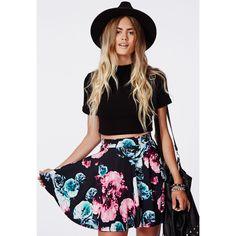 Missguided Dina Floral Skater Skirt ($23) found on Polyvore