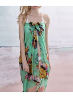 Sunflower Print Green Beach Cover Up
