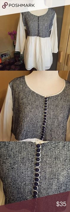 Soft Surroundings White and Blue Peasant Top Soft surroundings blue and white peasant top. Excellent condition. Made in India. 100% cotton. Has cute blue buttons on top and back of sleeves. Threaded detailing. Size Medium. Soft Surroundings Tops Blouses