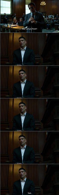 "Matt: May I call you Frank? (long awkward pause) Frank: Yeah. #Marvel #Daredevil #netflix 2x08 ""Guilty as Sin"""