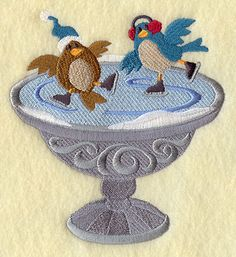 """Ice Skating Is For the BirdsProduct ID:E8395 Size:4.86""""(w) x 5.28""""(h) (123.4 x 134.1 mm)Color Changes:11 Stitches:28631Colors Used:11 2 SIZES"""