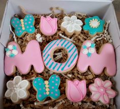 Mother's day sugar cookies letters ,tulips,flowers,butterflies ,royal icing by SweetArtSugarCookies on Etsy https://www.etsy.com/listing/228584598/mothers-day-sugar-cookies-letters