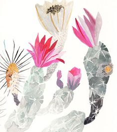 This is an archival print of an original watercolor painting.  Several blooming Engelmanns Hedgehog Cactus.  All of my prints are used with very high quality materials including pigment based inks and archival papers. In order to keep your print in great condition it is important to frame with archival materials (mattes, backing board etc), keep out of direct sunlight, and frame with a UV glass. Each print is signed on the front. Printed on professional printing paper; heavy weight, archival…