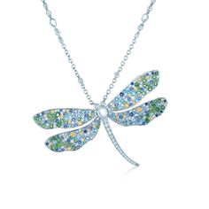 Dragonfly pendant in platinum with colored gemstones and diamonds. #TiffanyPinterest #TiffanyBlueBook #necklace