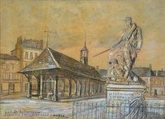 Combes Fernand - Charcoal and colors - Formerie, le culte du souvenir - ~30x41cm;  il s'agit ici de la place de la République à Formerie, avec la halle au beurre et la statue du Capitaine Dornat, mort en héros lors de la guerre de 1870 (ces éléments sont visibes sur les vues antérieures à la 2ème guerre mondiale); ce dessin date de 1932 (donc un dessin tardif).