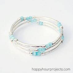 Memory Wire Tube Bead Bracelet....elegant yet simple....love it...gonna make it!!!  :)