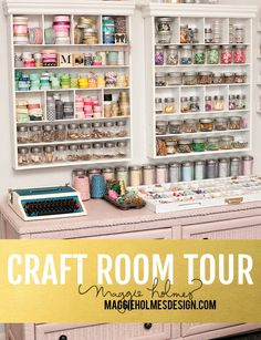 Maggie Holmes Craft Room Tour + organization tips for scrapbook supplies