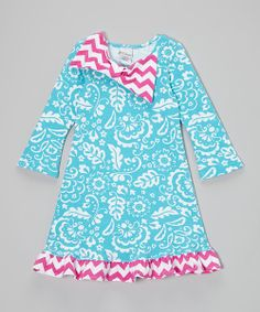 Flap Happy Blue & Fuchsia Floral Bow Dress - Infant, Toddler & Girls by Flap Happy #zulily #zulilyfinds