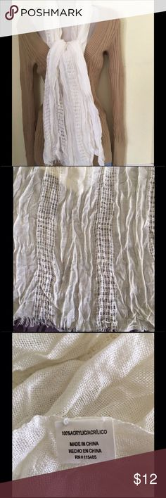 NWOT White crinkled long scarf Beautiful design white crinkled long scarf with fringe ends.  100% acrylic.  Brand new.  I do not wear scarves, so my loss is your gain! Accessories Scarves & Wraps