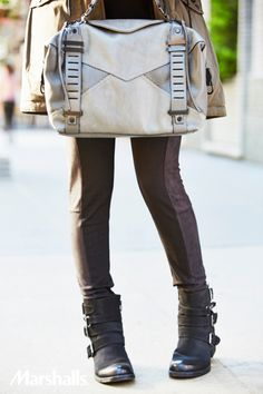 Buckle in. This season is all about metallics. Pair skinnies with buckled boots for a moto look. Accessorize with a steel-gray bag.