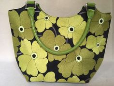 MARTHA H Handled Black Fabric Handbag Tote with Green Floral Embroidery Pattern  #MARTHAH #ShoulderBag
