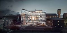 Bodø Town Hall proposal by Transborder Studio. Image courtesy of Transborder Studio City Hall Architecture, Architecture Panel, Architecture Visualization, Architecture Drawings, Modern Architecture, Building Rendering, Exterior Rendering, 3d Rendering, Bodo