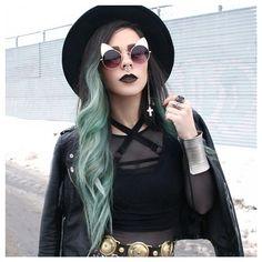 ℒᎧᏤᏋ her bunny ear sunnies! Hidden Rainbow Hair, Pastel Rainbow Hair, Pastel Hair, Moda Boho, Coloured Hair, Crazy Hair, Alternative Fashion, Blue Hair, Types Of Fashion Styles